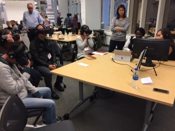 Participants immersed in VR.